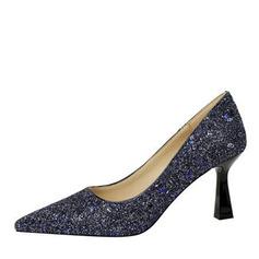 De mujer PU Tacón en cono Salón con Brillo Chispeante zapatos
