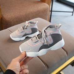 Fille de bout rond Bout fermé Mesh talon plat Chaussures plates Sneakers & Athletic avec Dentelle
