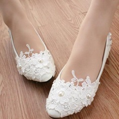 Women's Patent Leather Low Heel Closed Toe Pumps With Rhinestone Stitching Lace Flower Lace-up (047107067)