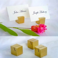 4pcs - Gold / Silveer Wooden Cube Place Card Holder Wedding Decoration