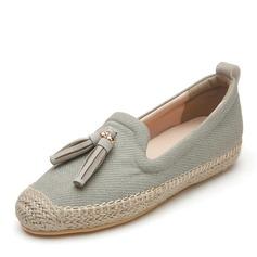 Women's Leatherette Flat Heel Flats Closed Toe With Tassel shoes