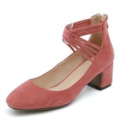 Mulheres Camurça Salto robusto Fechados com Zíper Aplicação de renda sapatos