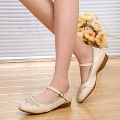 Vrouwen Echt leer Flats Character Shoes met Enkelriempje Dansschoenen