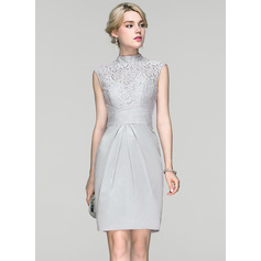 Sheath/Column High Neck Knee-Length Charmeuse Cocktail Dress With Ruffle (016094345)
