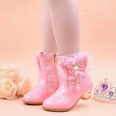 tytön Mid-calf saappaat tekonahka Flower Girl Kengät jossa Kukka