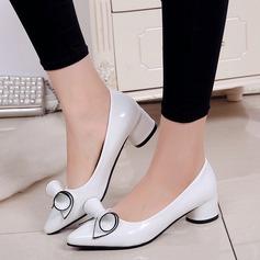Donna PU Tacco basso Stiletto Punta chiusa con Bowknot scarpe