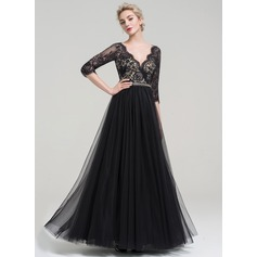 A-Line/Princess V-neck Floor-Length Tulle Evening Dress With Beading