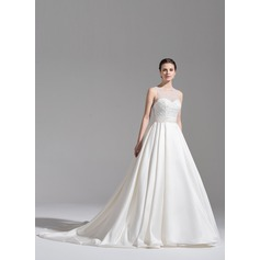 De baile Decote redondo Cauda longa Cetim Vestido de noiva com Pregueado Beading lantejoulas