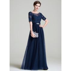 Vestidos princesa/ Formato A Decote redondo Longos Tule Vestido para a mãe da noiva com Pregueado Bordado Apliques de Renda lantejoulas