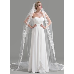 One-tier Lace Applique Edge Cathedral Bridal Veils With Applique (006094961)