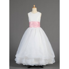 A-Line/Princess Floor-length Flower Girl Dress - Organza/Charmeuse Sleeveless Scoop Neck With Sash