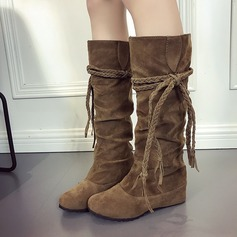 Women's Suede Wedge Heel Boots Knee High Boots With Bowknot shoes