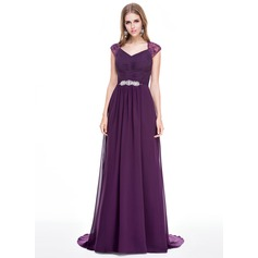 A-Line/Princess V-neck Sweep Train Chiffon Evening Dress With Ruffle Lace Beading Sequins