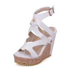Vrouwen Kunstleer Wedge Heel Sandalen Pumps Plateau Peep Toe Slingbacks met Gesp schoenen