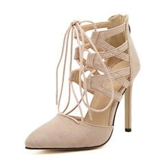 Frauen Veloursleder Stöckel Absatz Absatzschuhe Geschlossene Zehe mit Reißverschluss Zuschnüren Schuhe