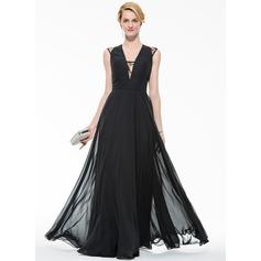 Трапеция/Принцесса V-образный Длина до пола шифон Вечерние Платье с Кружева