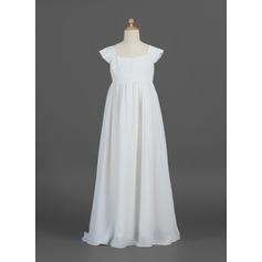Forme Princesse Longueur ras du sol Robes à Fleurs pour Filles - Mousseline Manches courtes Col rond avec Plissé