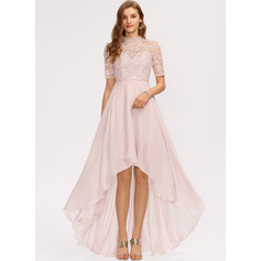 A-Line High Neck Asymmetrical Chiffon Bridesmaid Dress (007221231)