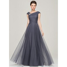 A-Line/Princess V-neck Floor-Length Tulle Evening Dress With Ruffle Beading Sequins