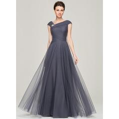 A-Linie/Princess-Linie V-Ausschnitt Bodenlang Tüll Kleid für die Brautmutter mit Rüschen Perlstickerei Pailletten (008062861)