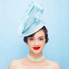 Señoras' Estilo de la vendimia Hilado de la red con Pluma Tocados/Derby Kentucky Sombreros