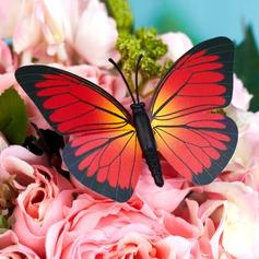 Rojo y Negro Plástico Mariposa (juego de 6)