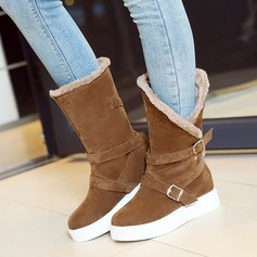 Women's Suede Flat Heel Flats Closed Toe Boots Mid-Calf Boots With Buckle shoes