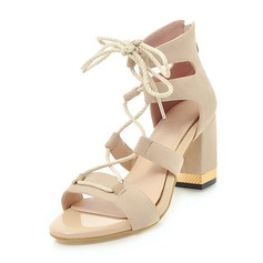 Vrouwen Suede Chunky Heel Sandalen Pumps met Vastrijgen schoenen