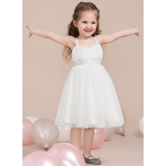 A-Line/Princess Sweetheart Knee-Length Tulle Junior Bridesmaid Dress With Ruffle Beading (009115399)