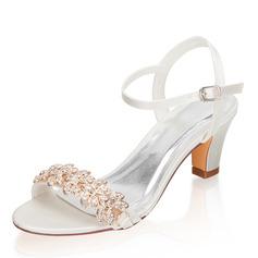 Kvinder silke lignende satin Stor Hæl Kigge Tå sandaler med Spænde Rhinsten