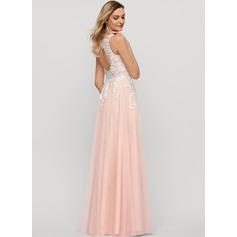 A-Line V-neck Floor-Length Tulle Evening Dress