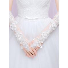 Spets Elbow Längd Handskar Bridal med Broderi
