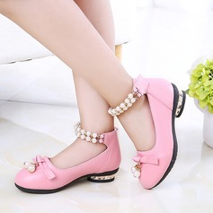 Girl's Leatherette Flat Heel Round Toe Closed Toe Flats With Bowknot Imitation Pearl Pearl
