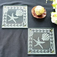 Shell and Starfish Frosted Glass Coasters  (Set of 2)