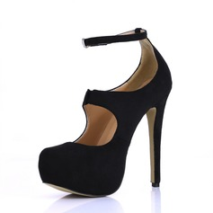 Women's Suede Stiletto Heel Pumps Platform Closed Toe With Buckle shoes