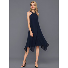 A-Line/Princess Scoop Neck Asymmetrical Chiffon Cocktail Dress With Beading (016140362)