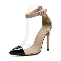 Kvinder PVC PU Stiletto Hæl Pumps Lukket Tå med Spænde Delt Bindeled sko