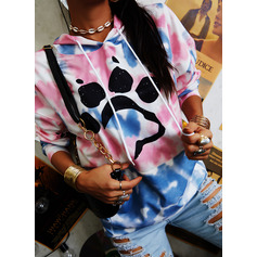 Animal Print Tie Dye Long Sleeves Hoodie (1001254396)