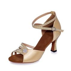 Mulheres Cetim Couro Saltos Sandálias Latino com Correia de Calcanhar Sapatos de dança