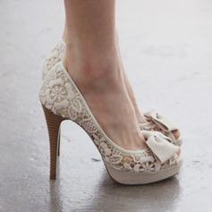 Naisten Pitsi Piikkikorko Peep toe Platform Beach Wedding Shoes jossa Bowknot