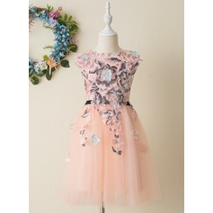 A-Line Knee-length Flower Girl Dress - Tulle/Lace Sleeveless Scoop Neck With Appliques
