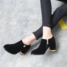 Vrouwen Fluwelen Chunky Heel Pumps met Strass schoenen