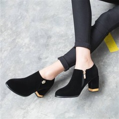Frauen Samt Stämmiger Absatz Absatzschuhe mit Strass Schuhe
