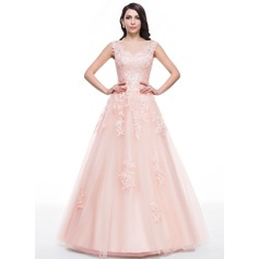 Ball-Gown/Princess Scoop Neck Floor-Length Tulle Prom Dresses With Beading Appliques Lace Sequins (018059416)