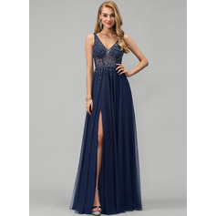 A-Line V-neck Floor-Length Tulle Evening Dress With Beading Sequins Split Front (017229892)