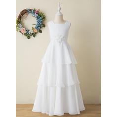 A-Line Floor-length Flower Girl Dress - Chiffon Sleeveless Square Neckline