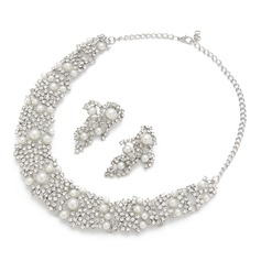 Attractive Alloy/Pearl With Rhinestone Ladies' Jewelry Sets