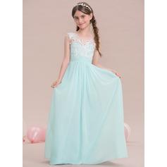A-formet/Prinsesse V-hals Gulvlengde Chiffong Brudepikekjole til tenåringer