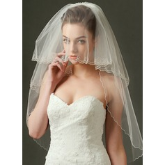 Two-tier Elbow Bridal Veils With Beaded Edge (006090100)