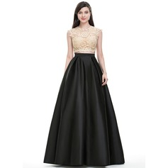 Ball-Gown Scoop Neck Floor-Length Satin Prom Dress With Sequins